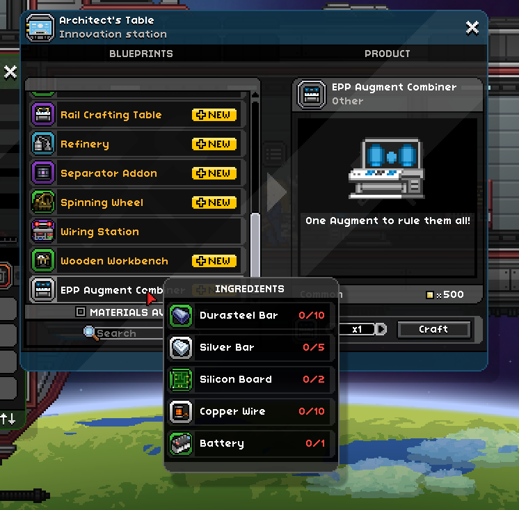 Craft copper wire starbound crafting combinable augments chucklefish forums greentooth Images