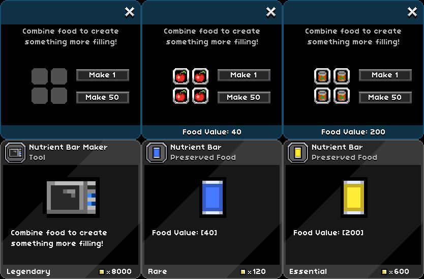 Starbound Mod - Nutrient Bar Maker! | iLoveBacons